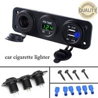 12v steckdosenadapter splitter usb großhandel-12V Dual USB Ladegerät-Energien-Adapter Outlet Auto-Zigarettenanzünder-Splitter LED Digital Display USB-Adapter