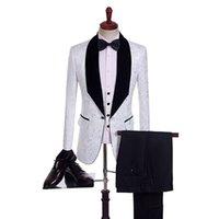 Wholesale men wedding vest style new online - New Style Groomsmen Shawl Black Lapel Groom Tuxedos One Button Men Suits Wedding Prom Dinner Best Man Blazer Jacket Pants Tie Vest B299