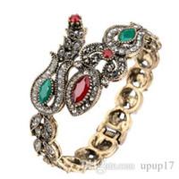 bracelet en diamant couleur achat en gros de-Bracelet rétro de style turc de résine acrylique et de lis, en forme de goutte, bracelet en marcassite ancien plaqué de diamants