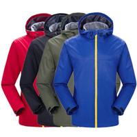 dünne armeejacke großhandel-Casual Style Men Wasserdichte Jacke Mantel Shirt Dünne Jacken Outdoor Weiche Polyester Rot Armee Grün Schwarz