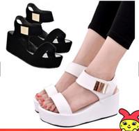 cuñas coreanas tacones sandalias al por mayor-Estilo coreano de estilo para mujeres Cuñas Zapatos de tacón alto Sandalias de tacón alto para dama de la moda NEGRO