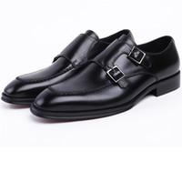 ingrosso scarpe marrone grooms-CLORISRUO Double Monk Strap Social Shoes Marrone tan / nero mens dress shoes in vera pelle da uomo mens wedding sh