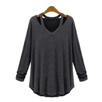 майка длинная оптовых-New Hot Sale Fashion Women's Casual Off-Shoulder Long Sleeve V-Neck Loose Cotton Tee Tank Top Female Shirt Clothing