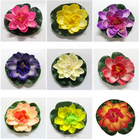 Wholesale flower light for pool resale online - 10cm Real Touch Artificial Lotus Foam Flowers White Water Lily Floating Pool Plants For Wedding Garden EVA Decoration