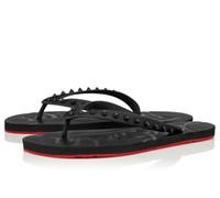 Wholesale beach men sandalias resale online - Summer Men Beach Slip On Slides Red Bottom Loubi Flip Flat Sandals Slippers Studs Sandals Flats Luxury Designer Flip Flops Sandalias EU38
