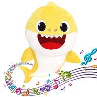 Wholesale plush stuffed animals for sale - 3 Colors cm Baby Shark Plush Toys with Music Led light Cartoon Stuffed Lovely Animal Soft Dolls Music Shark Plush Animals