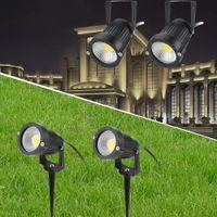 spot lumineux lumière ampoule verte achat en gros de-Projecteur à LED Lumière COB Lampe de pelouse Étanche Extérieur Jardin Lampes au sol Paysage Paysage Cour Chemin Veilleuses Veilleuse Blanc / Blanc