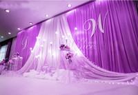 decoración de la fiesta de matrimonio al por mayor-3 * 6 m Fondo de celebración del escenario de la fiesta de bodas Cortina de satén Drapeado Pilar Telón de fondo Decoración de matrimonio Velo