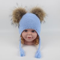 Wholesale kids formal hats for sale - Group buy Children Cute Winter Hats Two Faux Raccoon Fur Pompom Hat Boy Knitted Cap Warm Ears Earflap Thick Kids Beanies CNY976