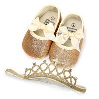 sapato de bebê menina headbands venda por atacado-New Gold Bow Sequin bebê recém-nascido menina sapatos recém-nascidos sapatos + Coroa Headbands 2 pçs / set infantil shoes Bebê Primeiro Walker Sapatos Calçados Do Bebê A1849