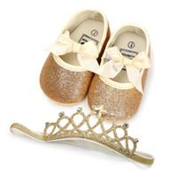 ingrosso caricamenti del cotone della neve del crochet del bambino-New Gold Bow Paillettes scarpe bambina neonato scarpe neonato + Corona Fasce 2 pezzi / set scarpe bambino Scarpe primo camminatore Baby Calzature A1849