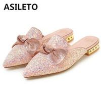 sandale à noeud plat rose achat en gros de-ASILETO Taille 35-43 Pantoufles Eté Femmes Sandales plates Noeud papillon à paillettes Talons plats Mules Casual Sabots Talons hauts Sandalias