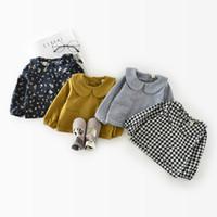 coreano estilo jaqueta primavera menina venda por atacado-Estilo coreano primavera outono bebê meninas casacos e jaquetas casaco de manga comprida blusas bonito Xadrez flor bolso camisa crianças pano