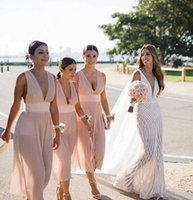 Wholesale sleeveless tea length bridesmaid dresses for sale - Group buy 2019 pink boho Bridesmaid Dresses sexy v neck ruched chiffon tea length Custom Made Maid of Honor Gowns Cheap long Modest Bridesmaid Gowns
