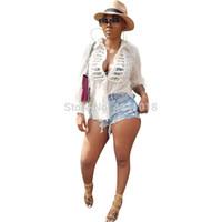 suéter de punto abierto blanco al por mayor-Nuevo invierno primavera mujer manga larga con cordones borla botón de punto abierto suéteres sexy moda dama abrigos trajes blanco Y8059