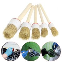 Wholesale new car detailing resale online - New Arrival Soft Car Detailing Brushes for Cleaning Dash Trim Seats Wheels Wood Handle ap10