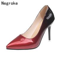 обувь stiletto 43 оптовых-Дизайнерские туфли бренда Марка Дизайнер Женщины Высокие каблуки Острым носком Туфли Лакированная кожа Stiletto Свадьба Zapatos Mujer Плюс Размер 43