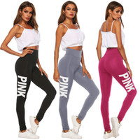 Wholesale clothing for running for sale - Group buy Women Yoga Pants Sport Leggings Breathable Fitness Pink Letter Legging Workout Pant for Running Gym Clothes Plus Size Quick dry Pant