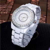 женщина керамическая полоса оптовых-Woman Watch 2019  Rhinestone Watches Women Imitation Ceramic Band Quartz Watches Fashion Women White reloj mujer