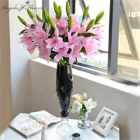 Wholesale lily table for sale - Group buy New heads cm PU real touch artificial lily silk decor for wedding flower bouquet home table choose colors flower lily