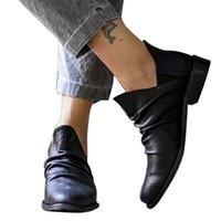 senhoras botas de cowboy curto venda por atacado-Botas de couro das mulheres Vintage Ankle Boots Ladies Sexy Short Cowboy motocicleta Shoes Deslizamento-na ao ar livre Botas Casual planas