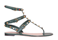 Wholesale sandals gems for sale - Group buy high quality u567 genuine leather gem rivets t bar sandals vclassic black ethnic fashion shoes