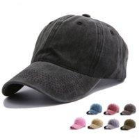 chapeaux réglables vierges achat en gros de-Coton Lavé Vide Baseball Hat Cap Pour Les Femmes Réglable Solide Papa Chapeau D'été Courbé Hommes Cap Sport En Plein Air Hip Hop Gorras