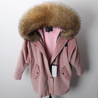 коричневый розовый пиджак оптовых-Горячие продажи женские снежные куртки коричневый мех енота отделка maomaokong розовый мех кролика подкладка роза розовый длинные вельветовые куртки