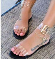 ingrosso signora signora gelatina di scarpe-Sandali Jelly Sandali Scarpe Flats Gladiator Summer Transparent Open Toe Donna Vintage Roman Buckle Strap Beach Sandals Big Size