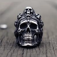 bisikletçi mücevherat paslanmaz çelik toptan satış-Serin Santa Muerte Ölüm Kafatası Yüzük Benzersiz Erkek Paslanmaz Çelik Yüzük Punk Rock Biker Onun için Takı Hediye
