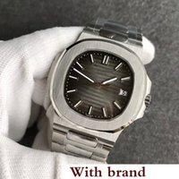 relojes muñeca luna al por mayor-N ew Luxury Mens Watch Nautilus moon Automático Mecánico de acero inoxidable Transparente Volver Gris Dial Hombres Relojes Hombre reloj de pulsera 06