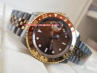 vintages saatler toptan satış-Sıcak Öğeler Yüksek Kalite İzle 40mm 1972 Vintage GMT 1675 Kahverengi Meme Arama İki Tonlu Asya 2813 Hareketi Mekanik Otomatik Mens ...