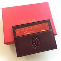 ingrosso scatola regalo sottile-Borsa porta carte di credito in vera pelle di lusso classico per uomo sottile porta carte di credito portafogli da uomo di design