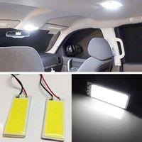 adaptador de panel led ba9s al por mayor-2 Unids Automóvil Xenon HID 36 COB LED Dome Map Light Bulb Auto Car Panel Interior Lámpara 12V 5500-6000K w / T10 BA9S Adorno Festón