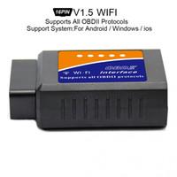 interfaz elm327 v1.5 al por mayor-Envío gratuito V1.5 ELM327 Super Mini Escáner WiFi Interfaz inalámbrica Auto Car V03HW-1 Interfaz Lectores de códigos Herramienta de diagnóstico Protocolos OBDII