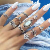 jóia anel de prata venda por atacado-10 pçs / set Anel de Opala Antiga Prata Flor Coroa Anel da Lua Conjunto Conjunto de Combinação de Anel Mulheres Moda Jóias Irão e Sandy Navio Da Gota