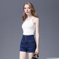 белые боксерские шорты оптовых-Белые джинсы с высокой талией Женские летние шорты 2019 года Новые европейские и американские женские модные джинсовые шорты Модные женские джинсы