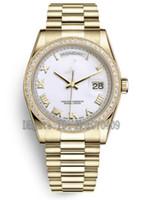 ingrosso guardare oro bianco presidente di lusso-Luxury Mens 36mm oro giallo 18kt 118348 Diamond Bezel White Roman Dial Day Data President Asia 2813 Automatic Orologi da uomo
