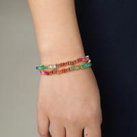 радужный браслет из стразы оптовых-New Rainbow bangles Irregular deisgn bracelets fashion square rainbow cz rhinestone bar Charm bangles women fancy gifts 56-58mm
