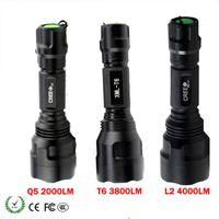 Bright Lighting LED Flashlight XM-L T6 L2 Q5 Rechargeable Tactical Flashlight Torch Lamp 5-Mode Hunting Light Waterproof