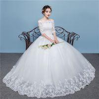 coreano vestido de noiva simples venda por atacado-Vestido de casamento New Simple coreano Slash neck lace maxi casamento da noiva VESTIDO