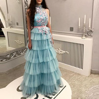Wholesale 16w plus size evening dress resale online - Princess Cake Skirts Prom Dresses Tiered Handmade Flowers Appliques Cocktail party Dress With Sash Floor Length Sheer Neck Evening Gowns