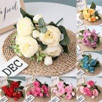 ingrosso decorazione falsa peonies-Bouquet di fiori artificiali di peonia di fiori di rose per la decorazione di nozze 5 teste Peonie Fiori finti Decorazioni per la casa