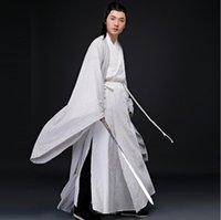 asiatische gemälde großhandel-Asian Oriental Cosplay Fotostudio alten China Kostüm Leinen weiß grau Gemälde Farbe Kleidung Männer Outfit Baumwolle Schwert Mann hanfu