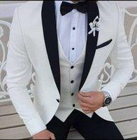 beyaz fildişi damat smokinleri toptan satış-Son Coat Pant Pantolon ile Düğün Siyah Şal Yaka Resmi Smokin Damat Balo Parti Elbise için Beyaz Fildişi Erkekler Suits Tasarımları