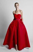 siyah çıkarılabilir etek toptan satış-Krikor Jabotian Kırmızı Tulumlar Abiye Ayrılabilir Etek Ile Sevgiliye Balo Abiye Pantolon Kadınlar için Özel Made Büyük Yay Siyah beyaz
