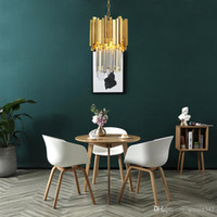 tek kişilik yemek toptan satış-Altın Avize Aydınlatma Tek Işık Yemek Odası LED Kristal Lamba Modern Mutfak Ada Kolye Zinciri Cristal Cilası