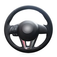 Wholesale mazda car parts for sale - Group buy DIY Black Suede Leather Car Steering Wheel Cover for Mazda Axela Mazda Atenza Mazda CX CX Scion iA Yaris iA Parts