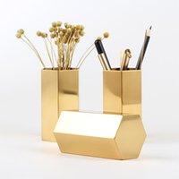 ingrosso scatola di vaso di fiori-Holder Hexagon Pencil in acciaio inox di stoccaggio vaso esagonale Fiore Macchina Golden Flower vaso di metallo Storage Box Home Organizer