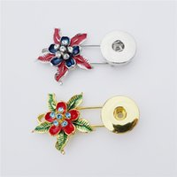 ingrosso bottoni di fiore a scatto in metallo-18mm strass fiore dello smalto Pin Spilla metallo Snap Buttons Spilla Donne Bambine Noosa Pezzi 12pcs / lot